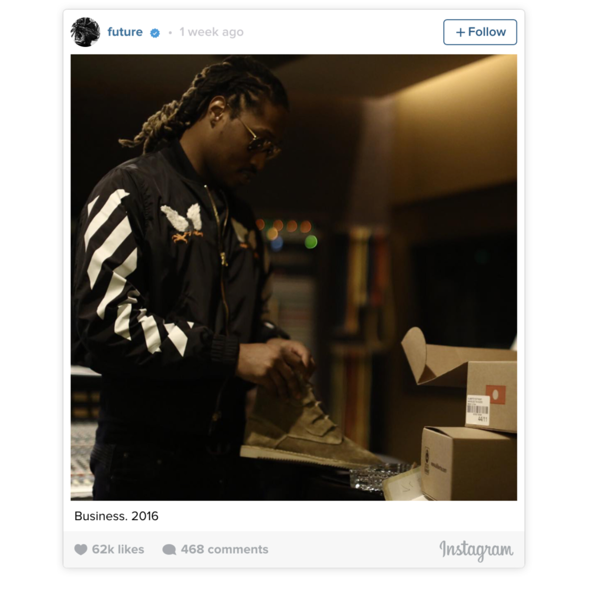 Future on hoodie by Off-White