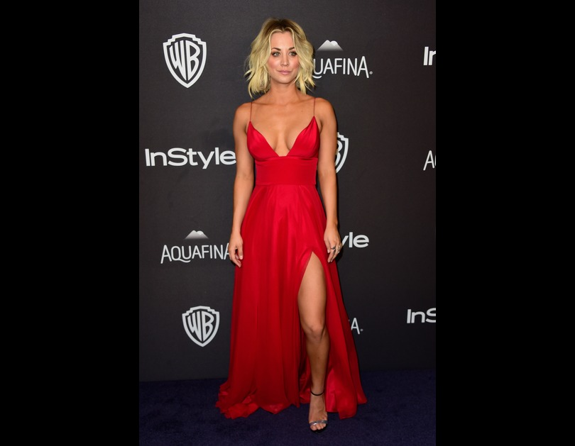 Kaley Cuoco attends the 2016 InStyle And Warner Bros. 73rd Annual Golden Globe Awards after-party in Los Angeles, California (January 11, 2016)
