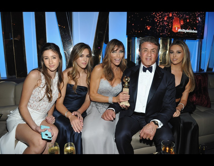 Sylvester Stallone and his family attend the 2016 InStyle And Warner Bros. 73rd Annual Golden Globe after-party in Los Angeles, California (January 11, 2016).